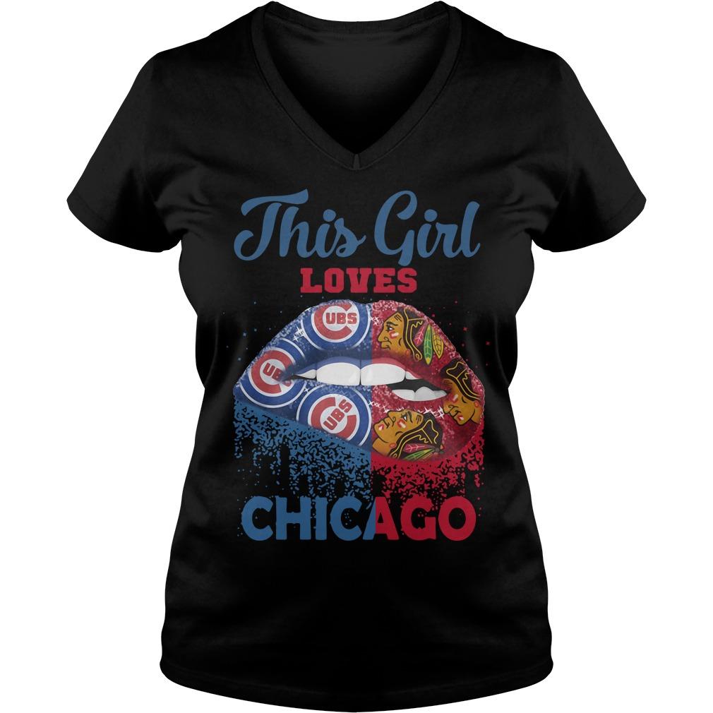 Lip This Girl Loves Chicago V-neck T-shirt