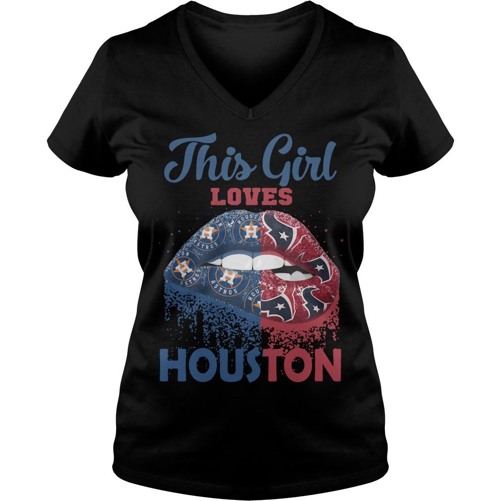 Lip This Girl Loves Houston V-neck T-shirt