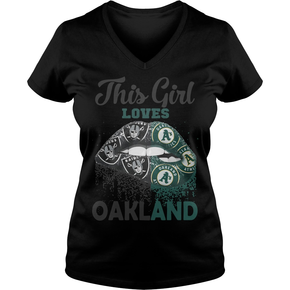 Lip This Girl Loves Oakland V-neck T-shirt