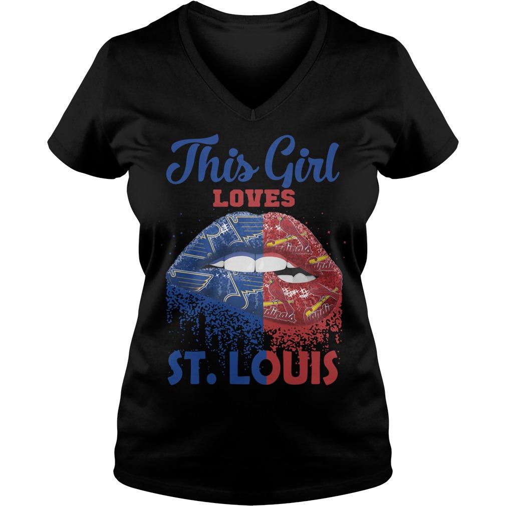 Lip Girl Loves St Louis V Neck T Shirt