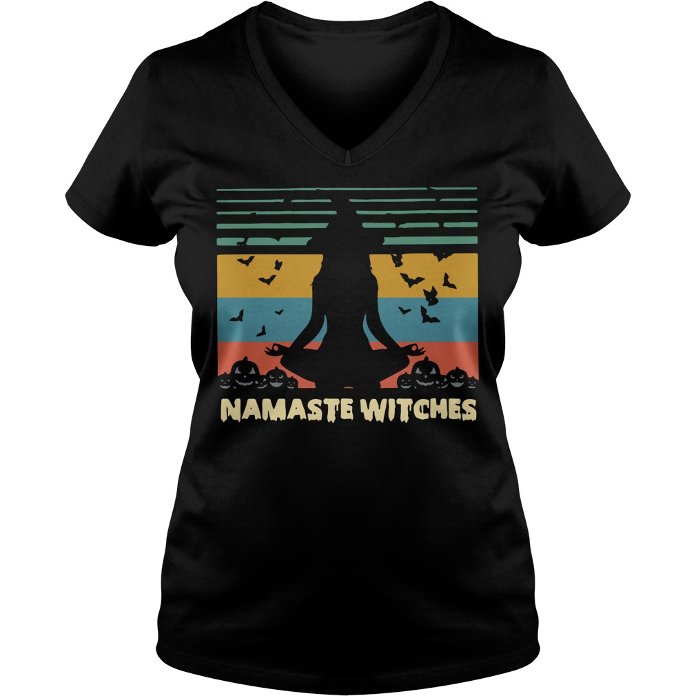 Namaste Witches Halloween Sunset V-neck T-shirt