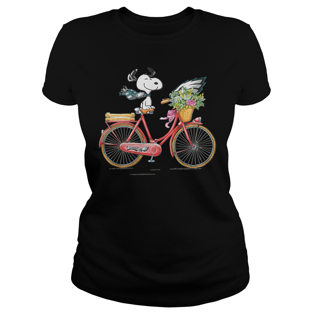 Philadelphia Eagles Snoopy Riding A Bicycle Ladies tee