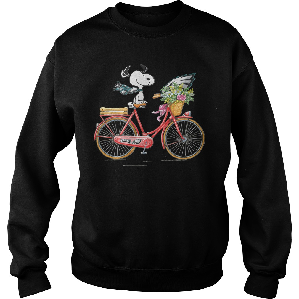 Philadelphia Eagles Snoopy Riding A Bicycle Sweater
