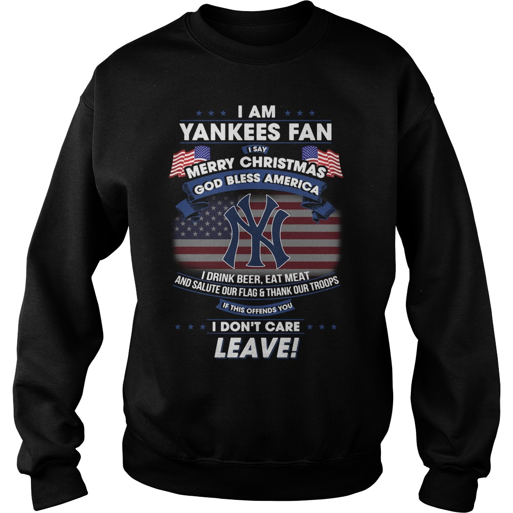 Yankees Fan Say Merry Christmas God Bless America Drink Beer Eat Meat Sweater