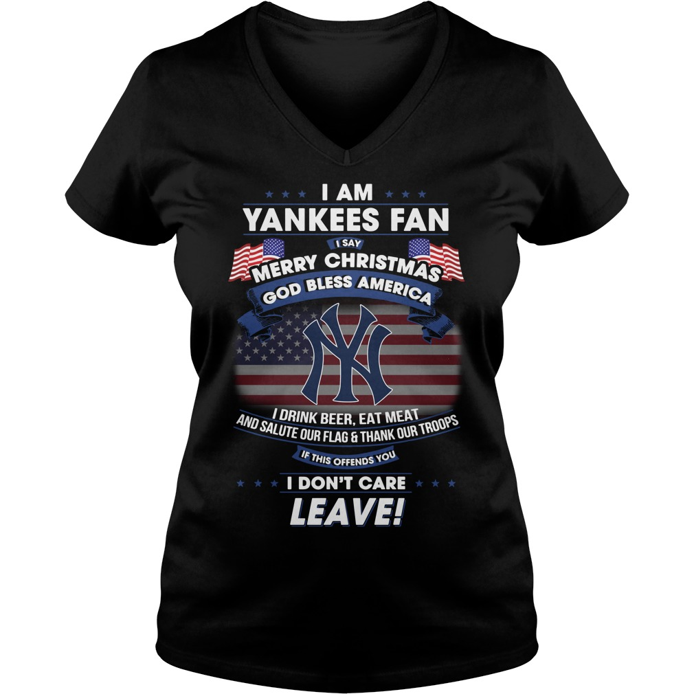 Yankees Fan Say Merry Christmas God Bless America Drink Beer Eat Meat V Neck T Shirt