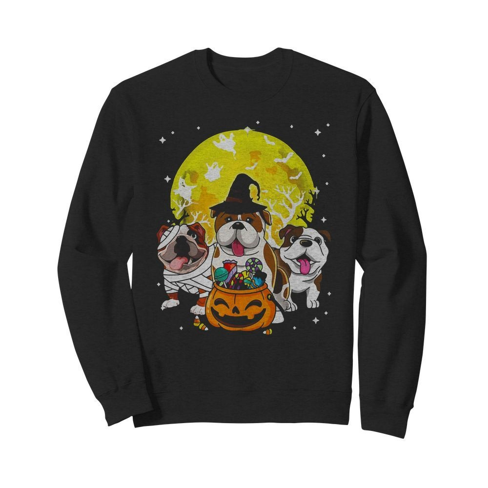 Bulldog Mummy Witch Dog Moon Ghosts Halloween Shirt