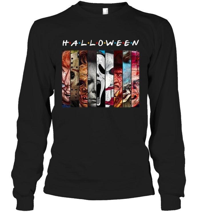 Halloween Horror Characters Friends Mashup Face Shirt