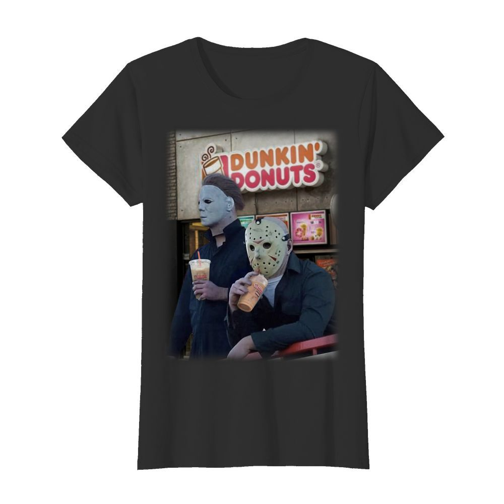 Michael Myers And Jason Voorhees Drink Dunkin' Donuts Shirt