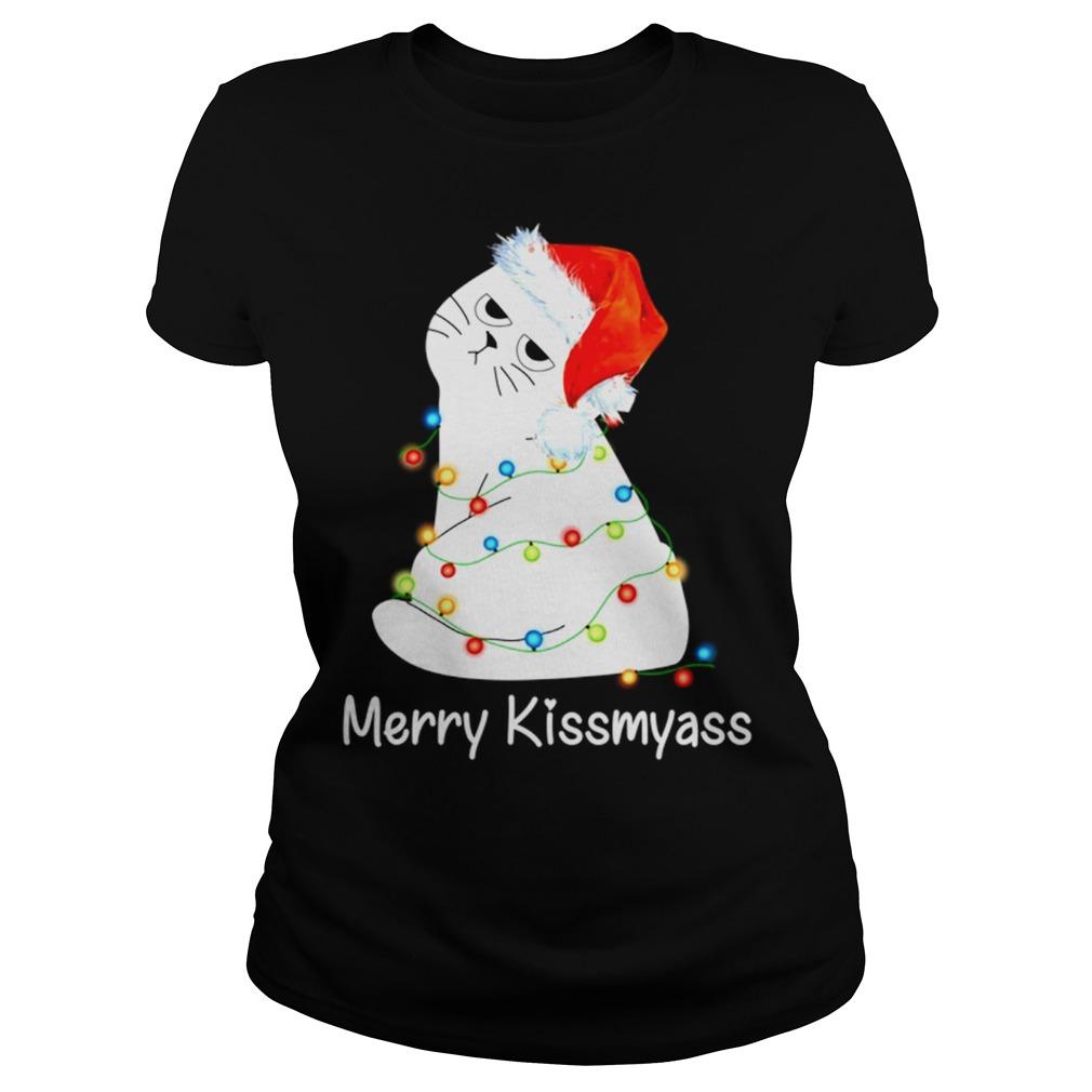 Cat Merry Kissmyass Christmas Light Sweater