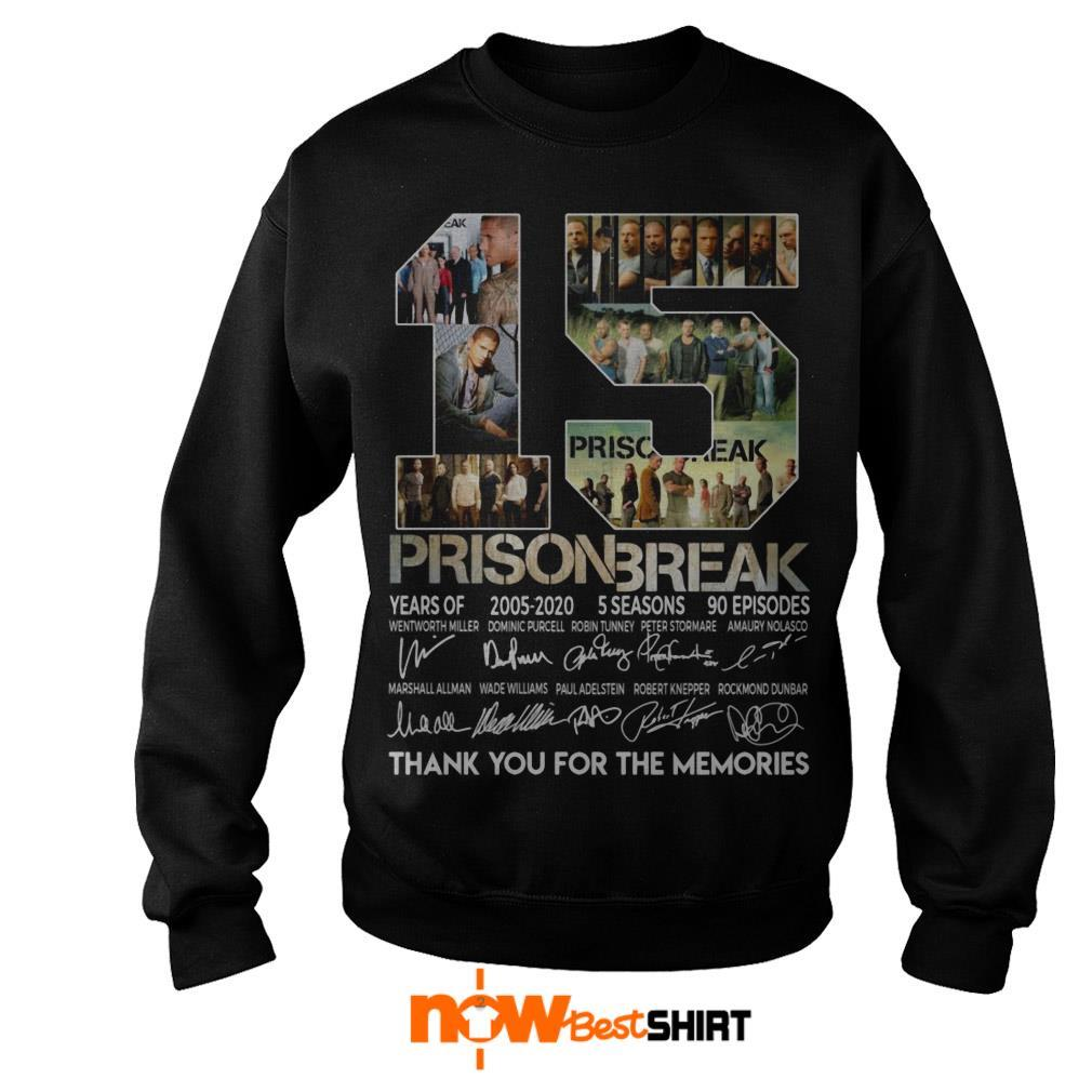 15 Years Of Prison Break 2005 2020 5 Seasons 90 Episodes Thank You For The Memories Signatures Sweater