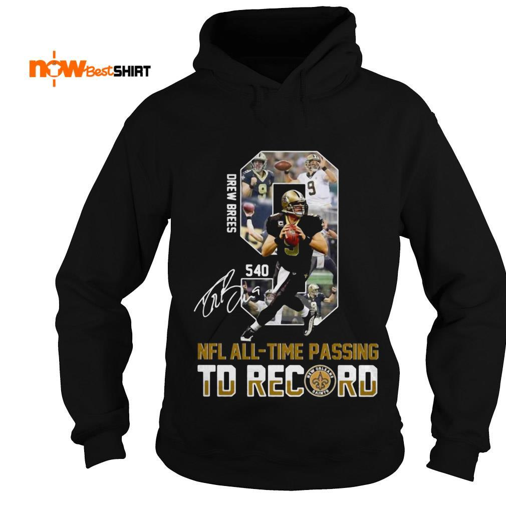 540 New Orleans Saints Drew Bress Nfl All Time Passing Td Record Signature Hoodie