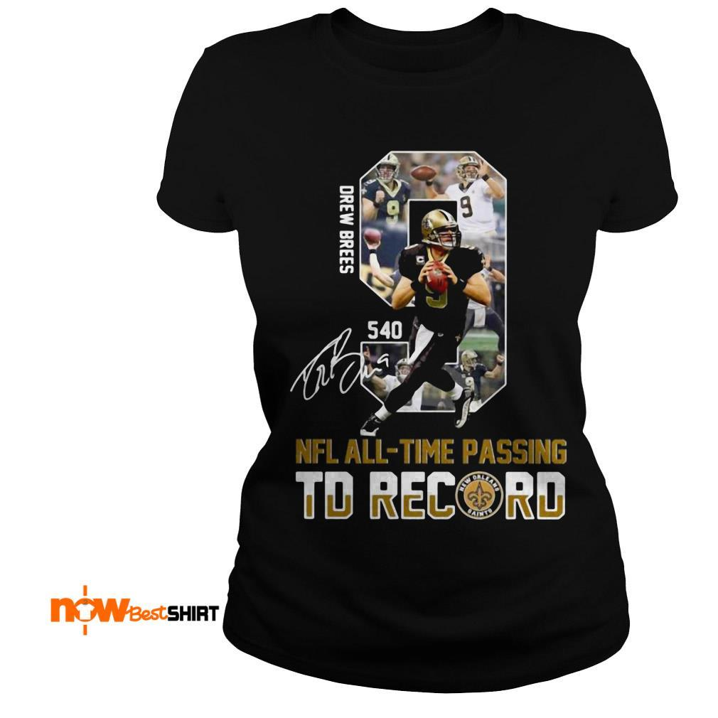 540 New Orleans Saints Drew Bress Nfl All Time Passing Td Record Signature Ladies Tee