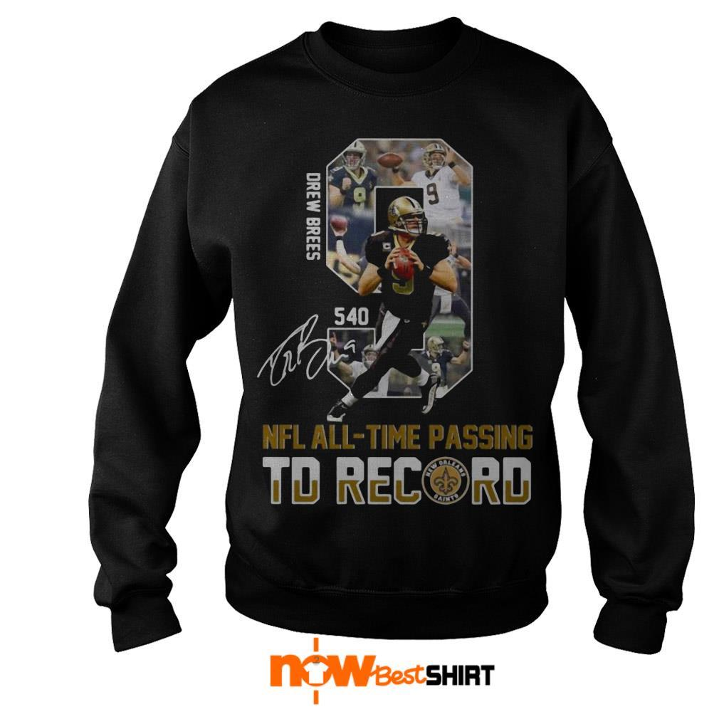 540 New Orleans Saints Drew Bress Nfl All Time Passing Td Record Signature Sweater