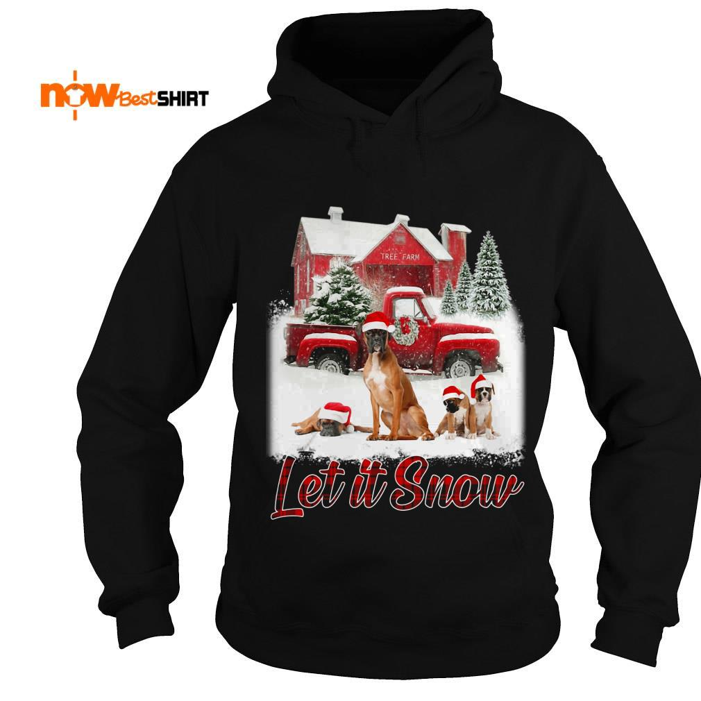 Boxer Santa Hat Let It Snow Christmas Hoodie