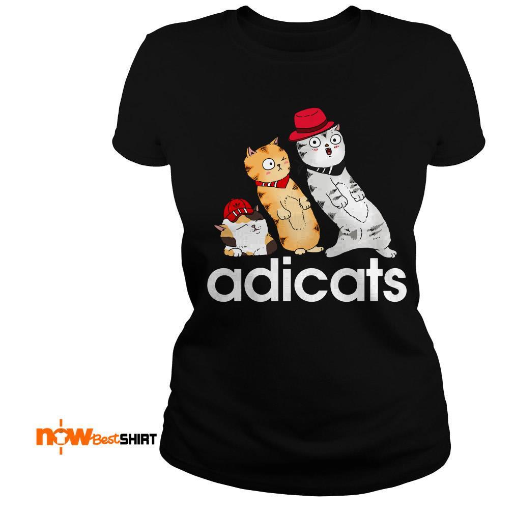 Cat Yellow And White Adicats Ladies Tee