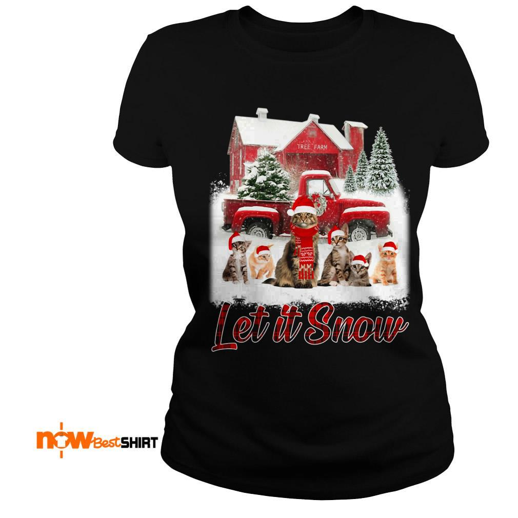 Cats Santa Hat Let It Snow Christmas Ladies Tee