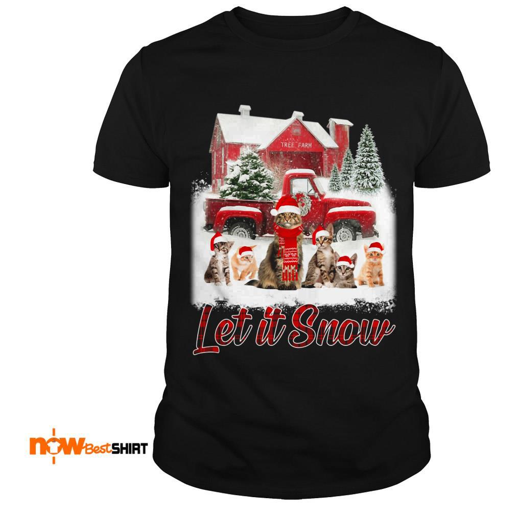 Cats Santa Hat Let It Snow Christmas Shirt