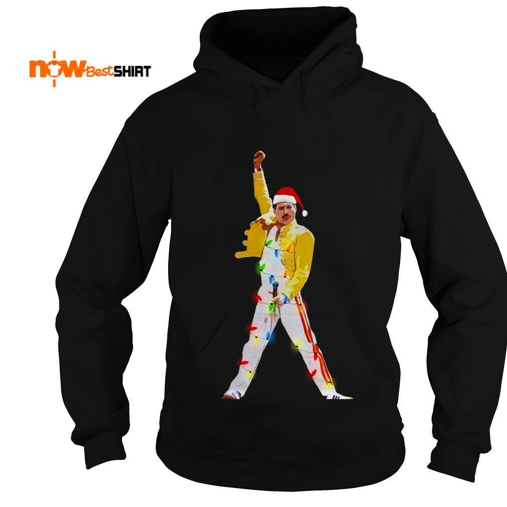 Freddie Mercury Wearing Santa Hat Christmas Hoodie