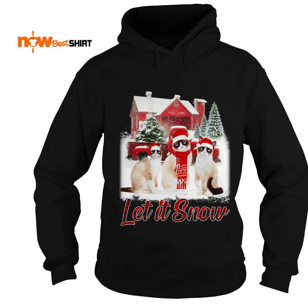 Grumpy Cat Santa Hat Let It Snow Christmas Hoodie