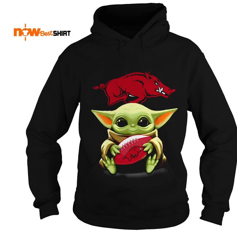 Official Star Wars Baby Yoda Hug Arkansas Razorbacks Hoodie