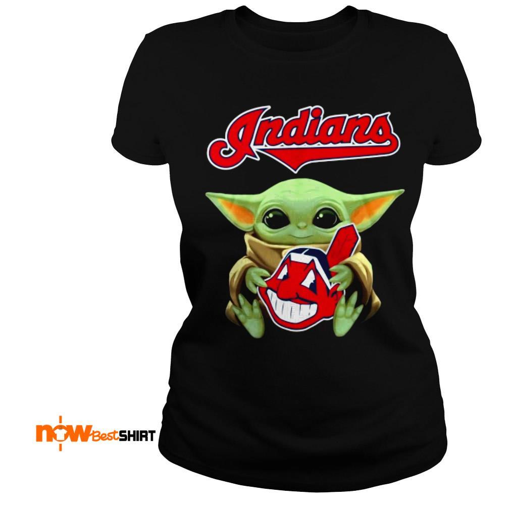 Official Star Wars Baby Yoda Hug Cleveland Indians Ladies Tee