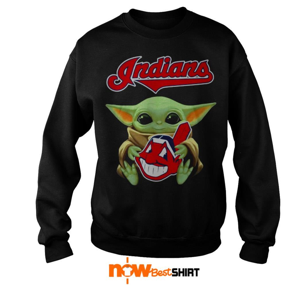 Official Star Wars Baby Yoda Hug Cleveland Indians Sweater