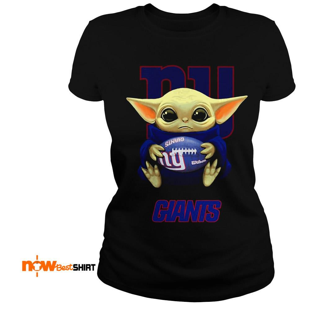 Official Star Wars Baby Yoda Hug New York Giants Ladies Tee