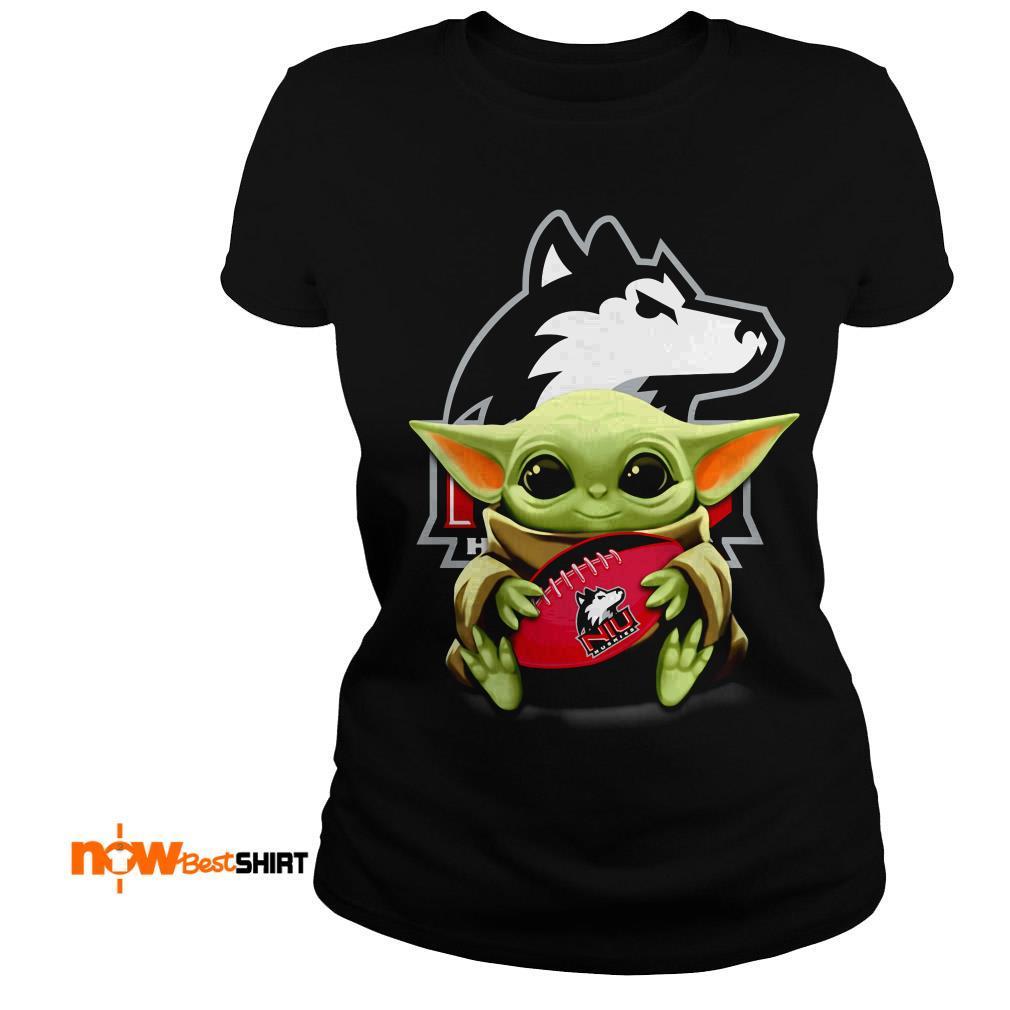 Official Star Wars Baby Yoda Hug Northern Illinois Huskies Ladies Tee