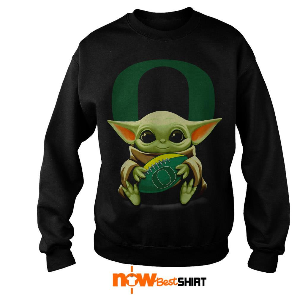 Official Star Wars Baby Yoda Hug Oregon Ducks Football Sweater