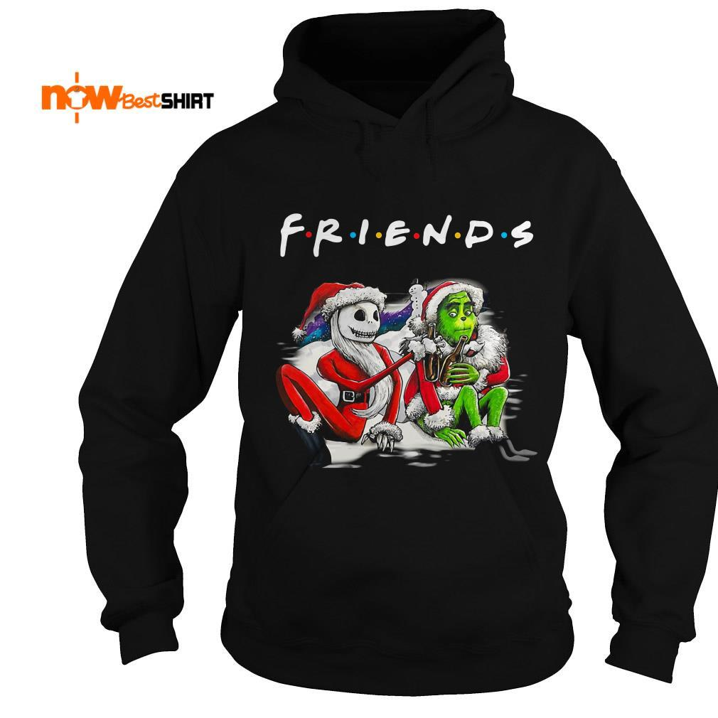 Santa Jack Skellington And Santa Grinch Friends Tv Show Christmas Hoodie