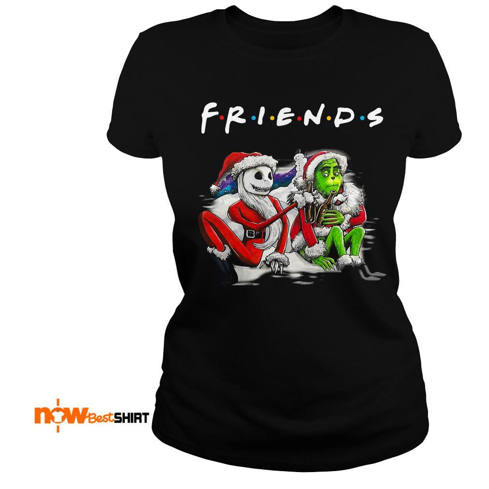 Santa Jack Skellington And Santa Grinch Friends Tv Show Christmas Ladies Tee