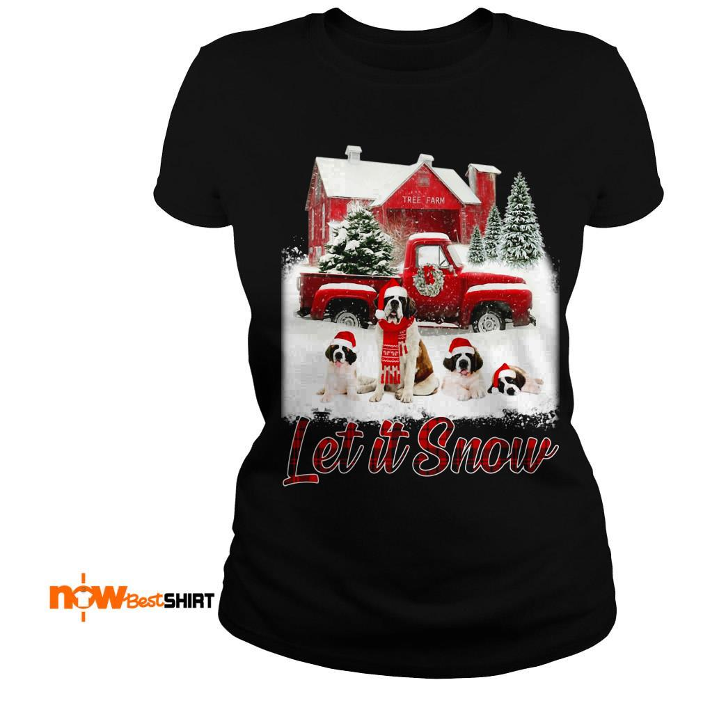St. Bernard Santa Hat Let It Snow Christmas Sweatshirt