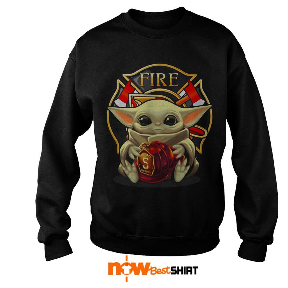 Star Wars Baby Yoda Hug Fire Department Sweater