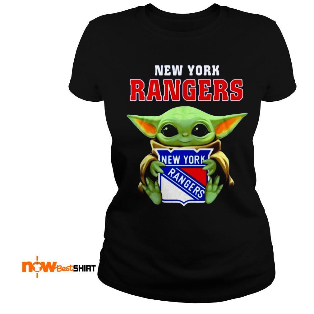 Star Wars Baby Yoda Hug New York Rangers Ladies Tee