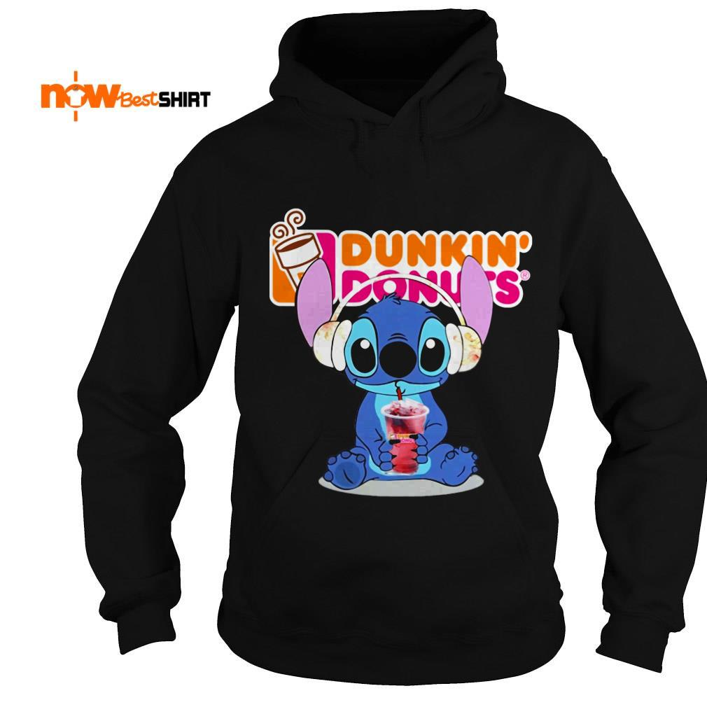 Stitch Wearing Headphone And Drinking Dunkin' Donuts Hoodie