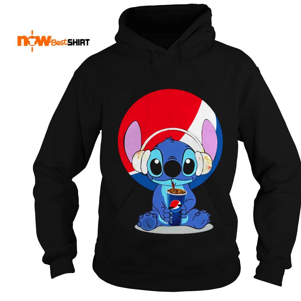 Stitch Wearing Headphone And Drinking Pepsi Hoodie
