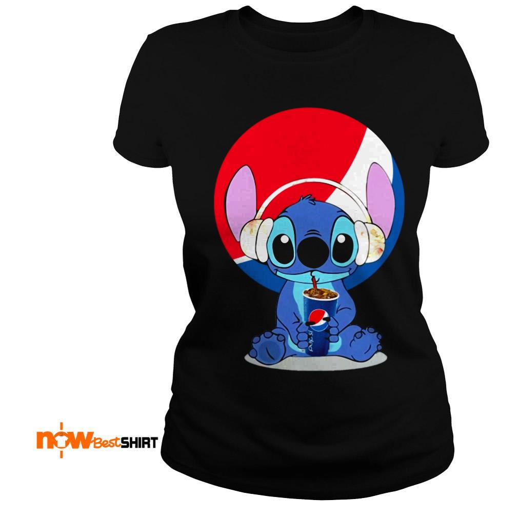 Stitch Wearing Headphone And Drinking Pepsi Ladies Tee