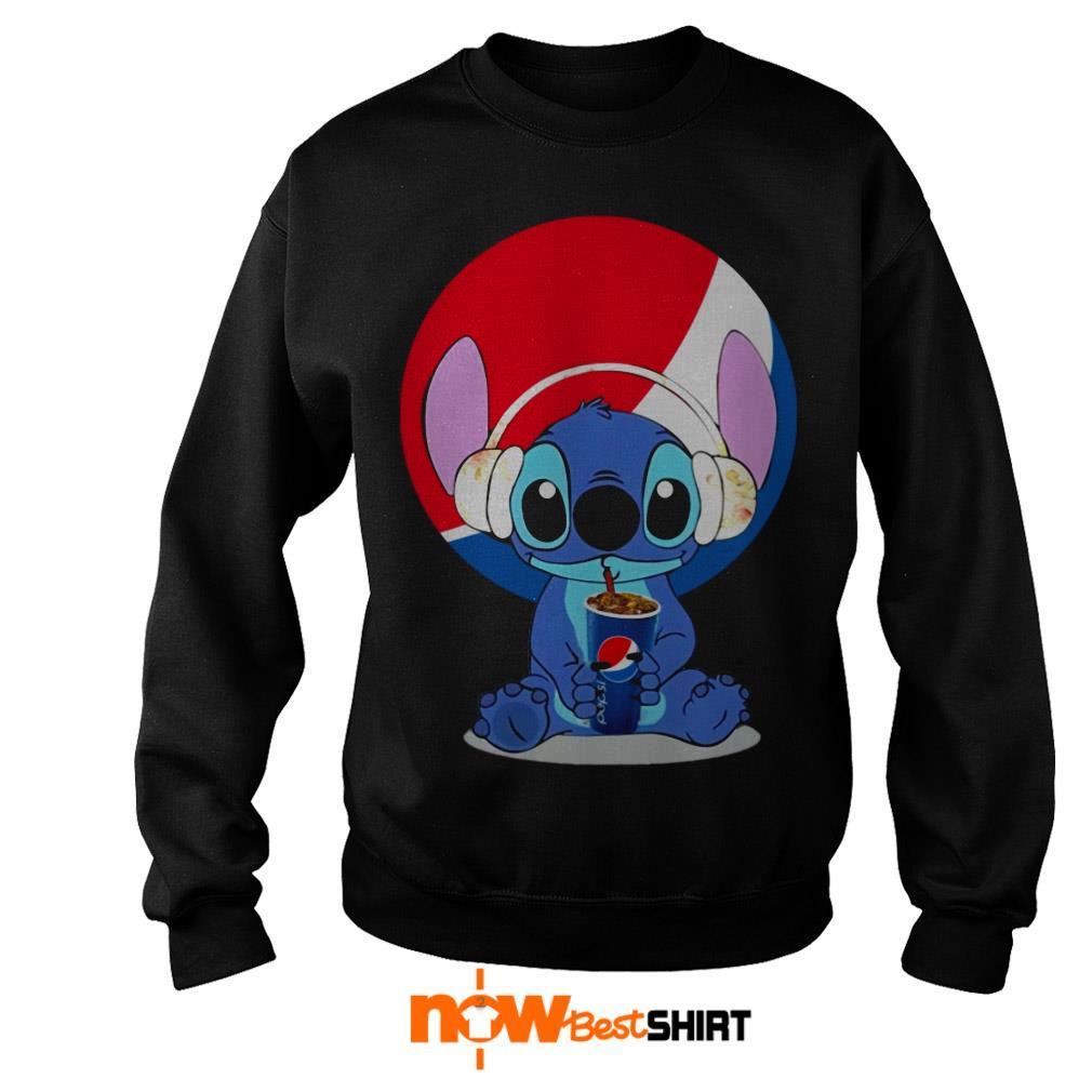 Stitch Wearing Headphone And Drinking Pepsi Sweater