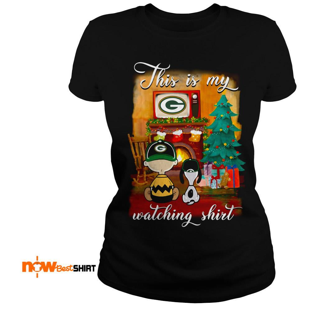 The Peanuts Snoopy And Charlie Brown Watching Green Bay Packers Christmas Ladies Tee