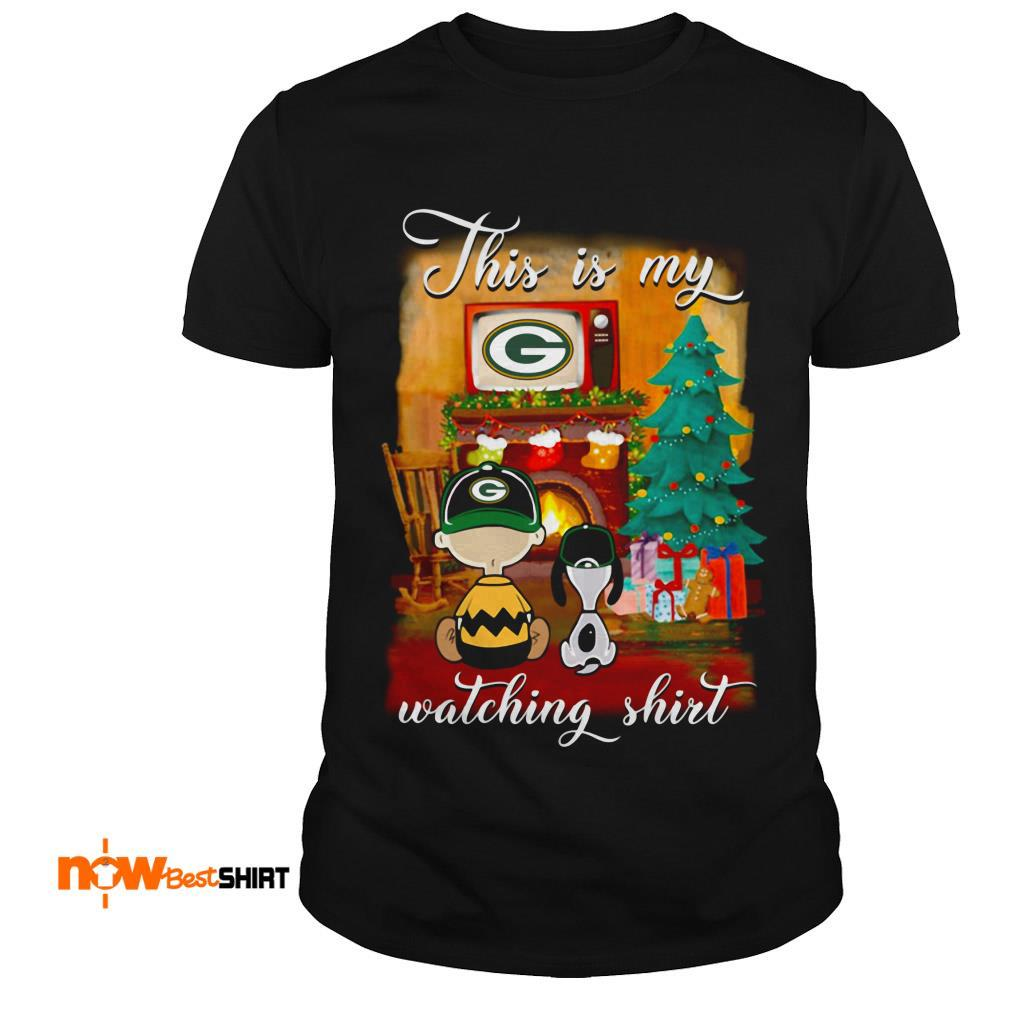 The Peanuts Snoopy And Charlie Brown Watching Green Bay Packers Christmas Shirt