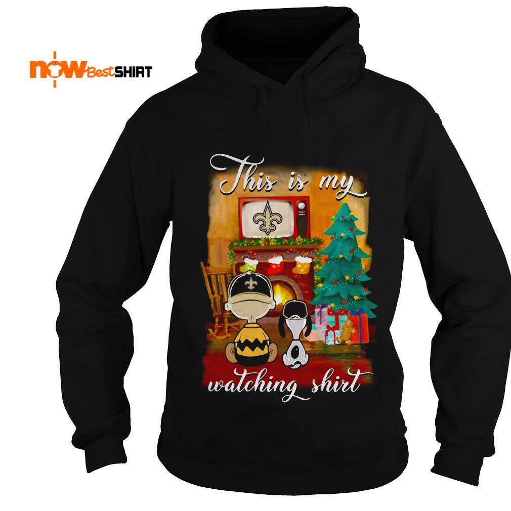 The Peanuts Snoopy And Charlie Brown Watching New Orleans Saints Christmas Hoodie