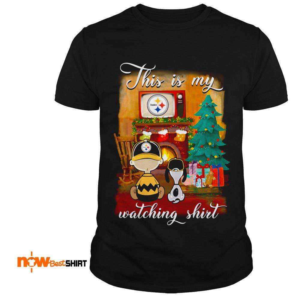 The Peanuts Snoopy And Charlie Brown Watching Pittsburgh Steelers Christmas Shirt