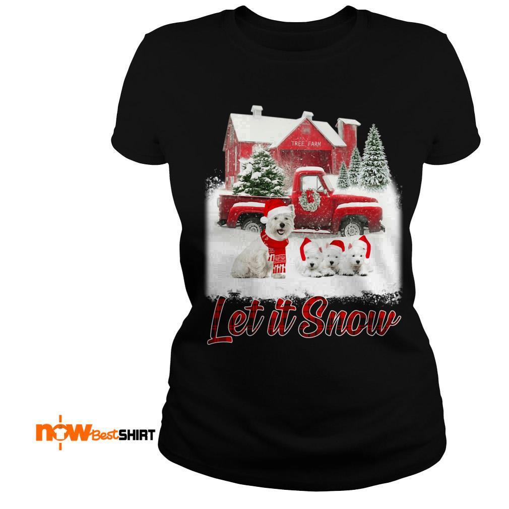 West Highland White Terrier Santa Hat Let It Snow Christmas Ladies Tee