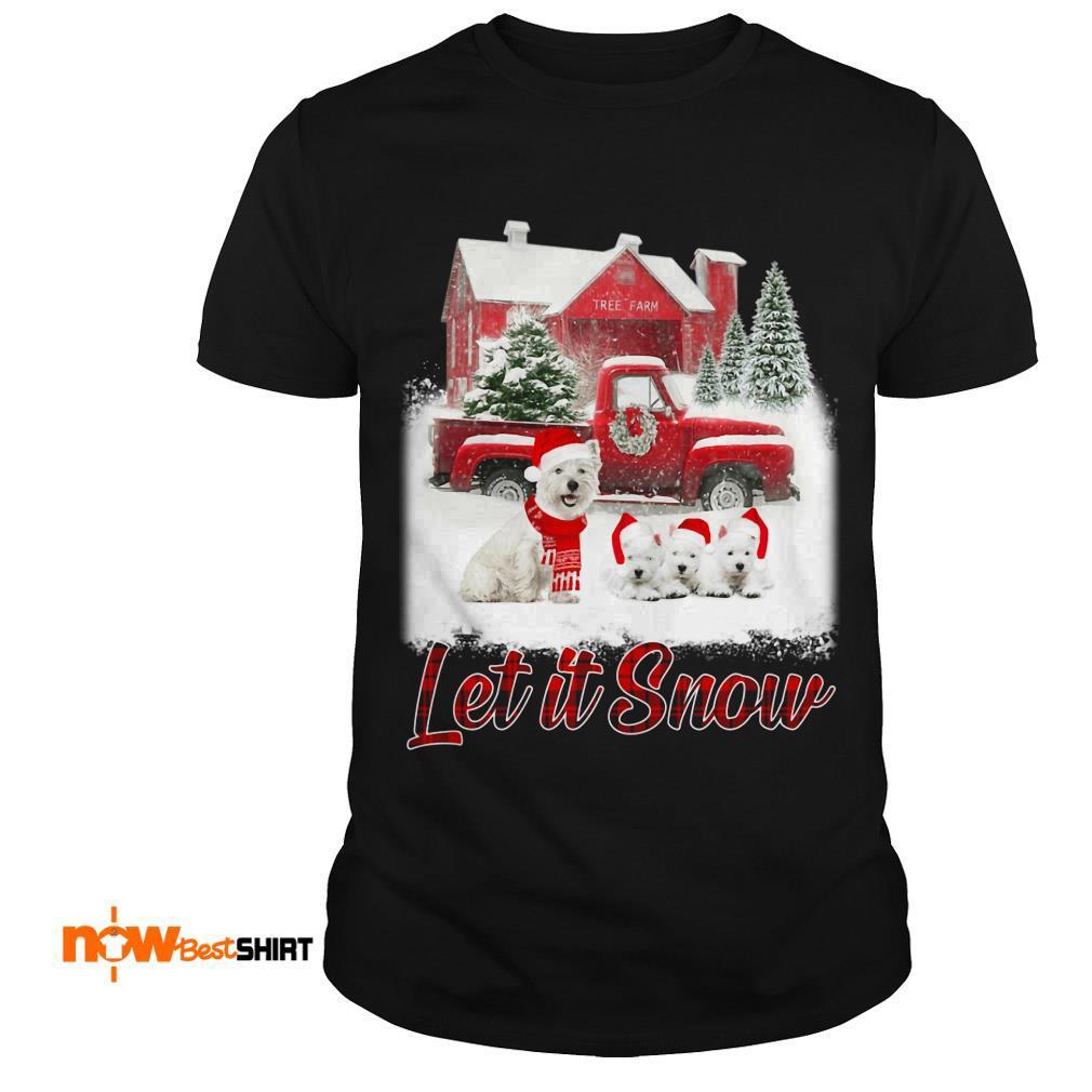 West Highland White Terrier Santa Hat Let It Snow Christmas Sweatshirt