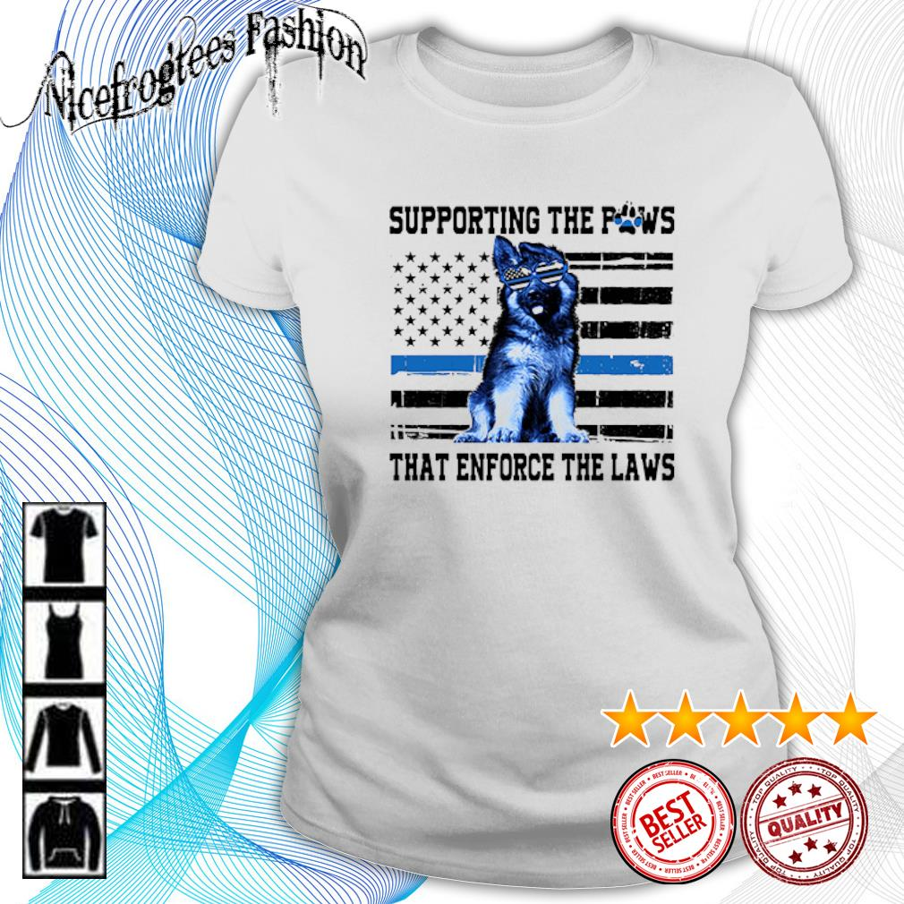 American flag Supporting the paws that enforce the laws s ladies-tee