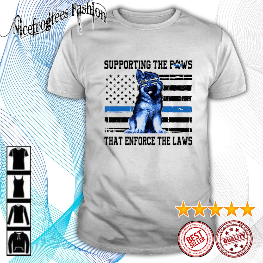 American flag Supporting the paws that enforce the laws shirt