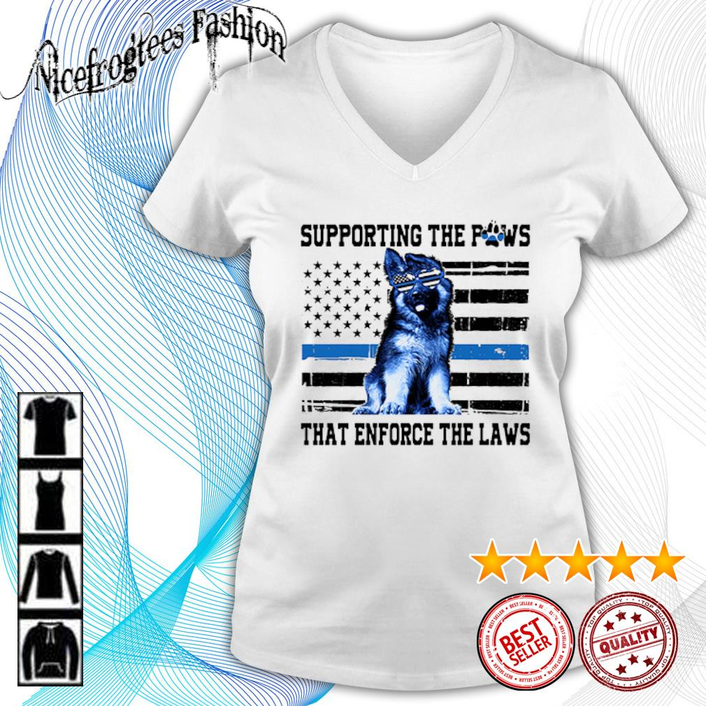 American flag Supporting the paws that enforce the laws s v-neck-t-shirt