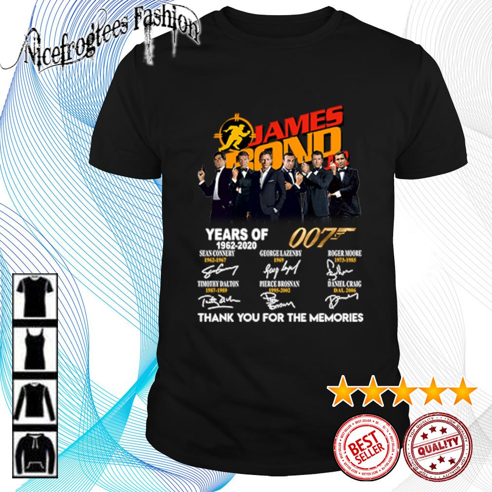 James Bond 007 Years of 1962 2020 thank you for the memories shirt