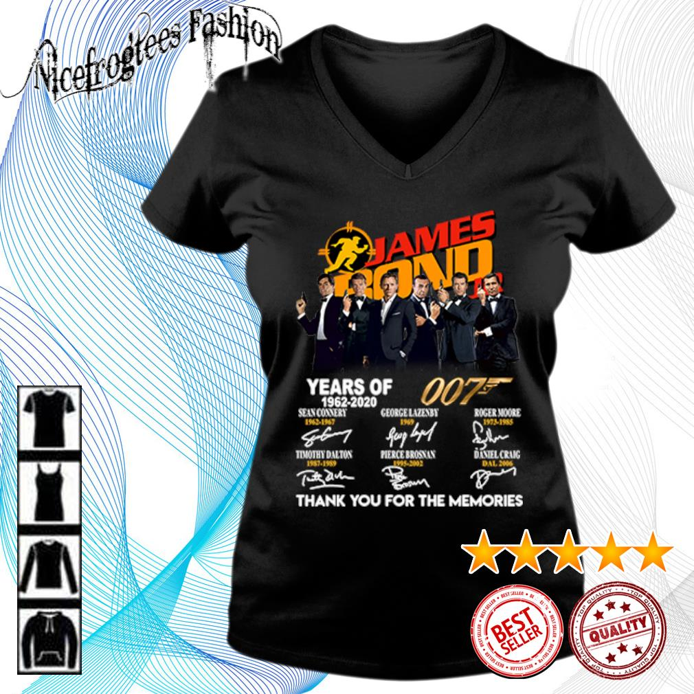 James Bond 007 Years of 1962 2020 thank you for the memories s v-neck-t-shirt