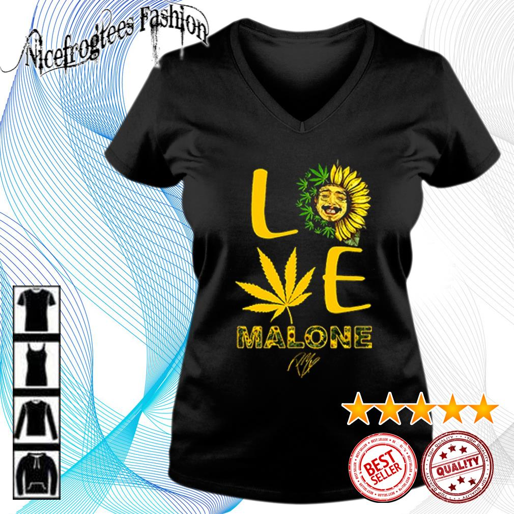 Love sunflower and weed Cannabis Malone signature s v-neck-t-shirt